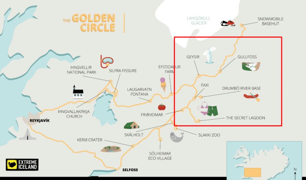 mapa circulo dorado en Islandia
